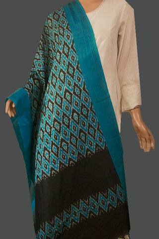 Ramar Blue with Black Diamond Mercerized Handwoven Ikat Dupatta with Tassels