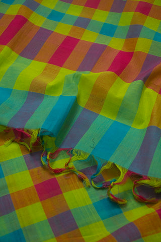 Neon Green with Pink and Blue Checks Handwoven Cotton Dupatta