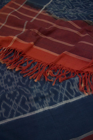 Faded Blue with Brown Handwoven Ikat Dupatta