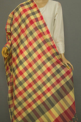 Grey with Off White Checks Handwoven Cotton Dupatta