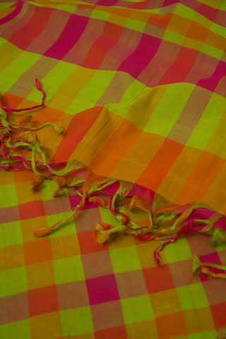 Pink and Orange Checks Handwoven Cotton Dupatta