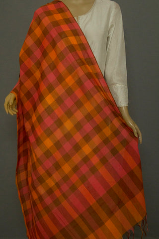 Shades Of Brown and Peach Checks Handwoven CottonDupatta