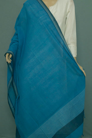 Subdued Blue with Black Temple Border Handwoven Cotton Dupatta