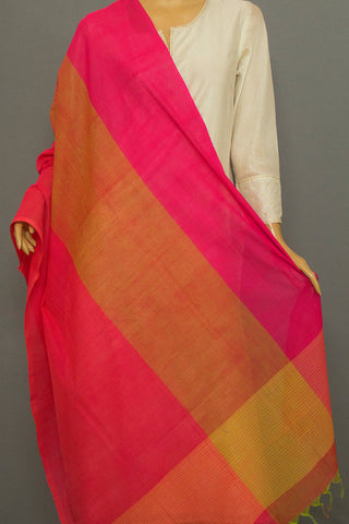 Pink with Peach Missing Weaves Handwoven Cotton Dupatta