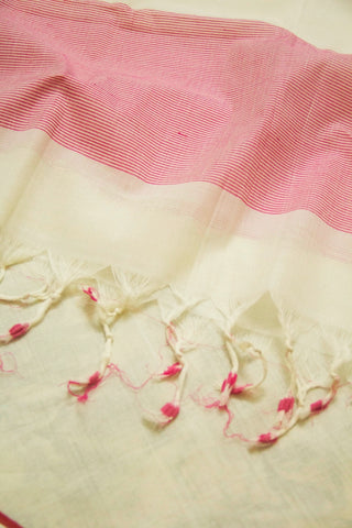 Off White with Pink Handwoven Cotton Dupatta