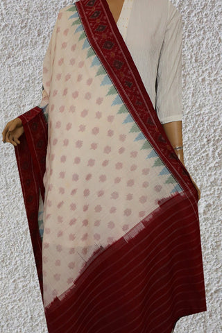 Green and Blue Temple Border in White Ikat Cotton Dupatta