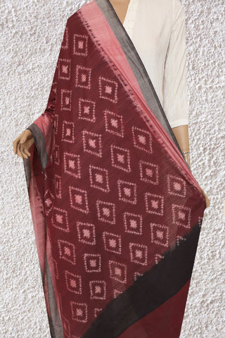 Double Shade Maroon Handwoven Ikat Cotton Dupatta