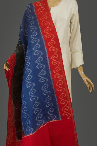Blue with Red Handwoven Ikat Dupatta with Tassels