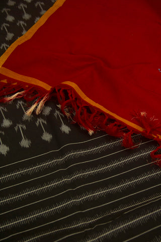 Arrows in Black Handwoven Ikat Dupatta