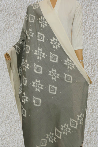 White Border in Grey Handwoven Ikat Cotton Dupatta