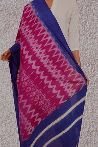 Double Shade Pink Handwoven Ikat Cotton Dupatta