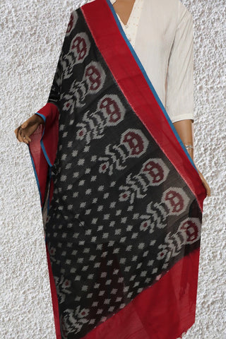 Flower Pot in Black Handwoven Ikat Cotton Dupatta
