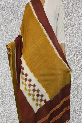 Double Shade Brown with Yellow Ikat Cotton Dupatta