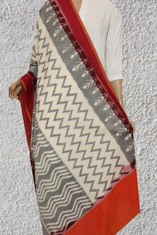 Grey and Off White Handwoven Ikat Cotton Dupatta