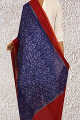 Ink Blue with Red Handwoven Ikat Cotton Dupatta