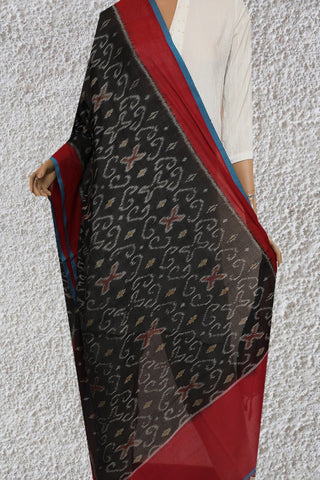 Black with Red Handwoven Ikat Cotton Dupatta