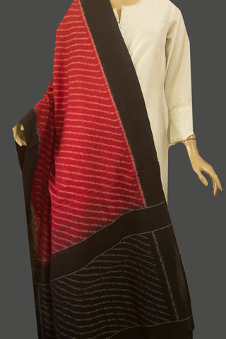 Pinkish Maroon Stripes Handwoven Ikat Dupatta