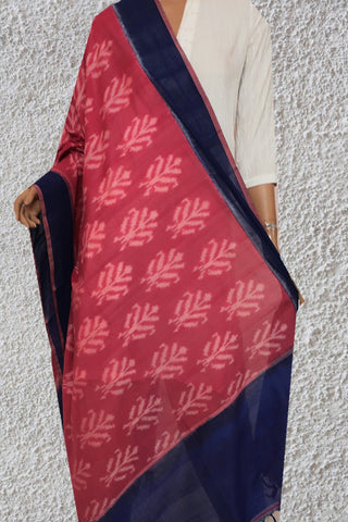 Pinkish Peach Handwoven Ikat Cotton Dupatta