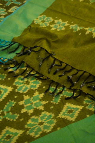 Subdued Green Mercerized Handwoven Ikat Dupatta with Tassels