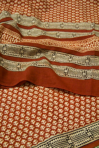 Beige with Maroon Printed Mul Cotton Dupatta