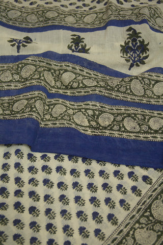 Blue Small Floral Printed Mul Cotton Dupatta