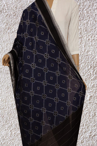 Blue with Grey and Black Handwoven Ikat Cotton Dupatta