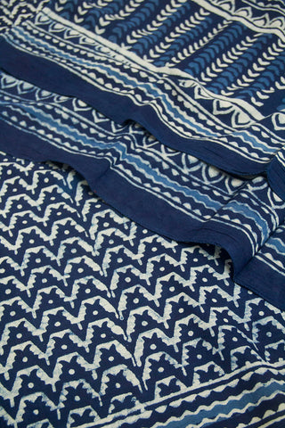 Waves Block Printed Mul Cotton Dupatta