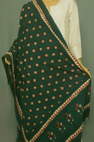 Subdued Green with Maroon Flower Circles Printed Khadi Cotton Dupatta