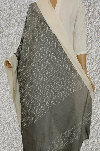 Diamond in Grey Handwoven Ikat Cotton Dupatta