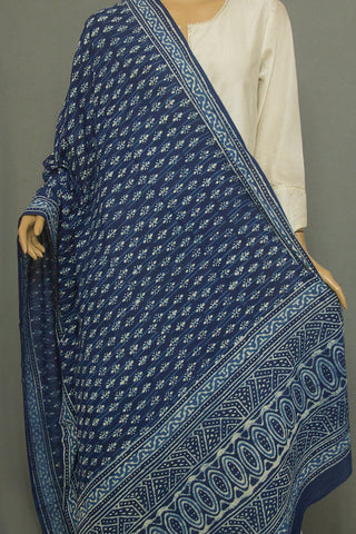 Off White Block Printed Mul Cotton Dupatta