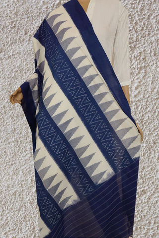 Temple Border in Blue Handwoven Ikat Cotton Dupatta