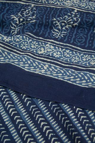 Arrows in Indigo Printed Mul Cotton Dupatta