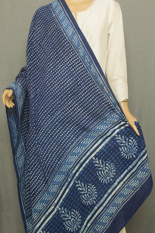 Indigo Small Leaf Lines Printed Mul Cotton Dupatta