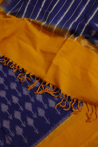 Arrows and Lines in Blue Handwoven Ikat Cotton Dupatta