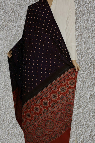 Navy Blue Ajrak Bandhani Cotton Dupatta