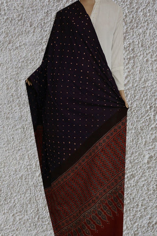 Navy Blue with Zig Zag Design Ajrak Bandhani Cotton Dupatta