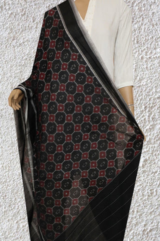 Black with Maroon Handwoven Ikat Cotton Dupatta