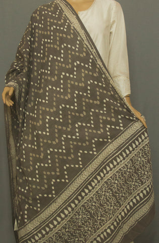 Grey Zig Zag Printed Mul Cotton Dupatta