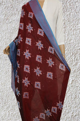 Double Shade Maroon and Blue Handwoven Ikat Cotton Dupatta