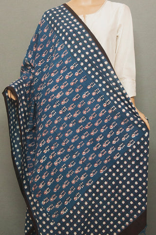 Indigo with Off White Dots Printed Khadi Cotton Dupatta