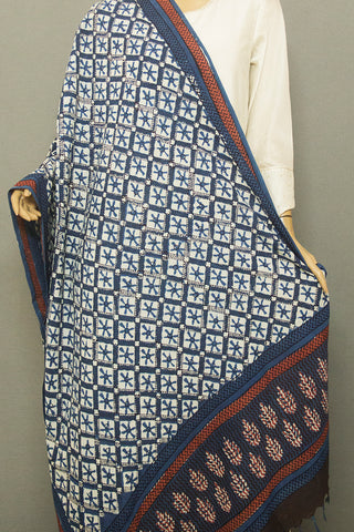 Off White Checks Printed Khadi Cotton Dupatta