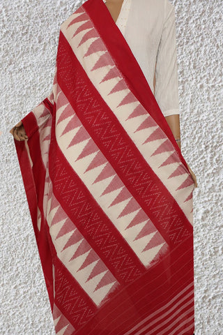 Red with Off White Handwoven Ikat Cotton Dupatta