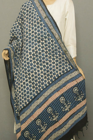 Indigo with Off White Block Printed Khadi Cotton Dupatta