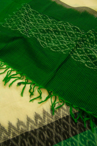Dark Green with Diamond Border Handwoven Ikat Dupatta with Tassels