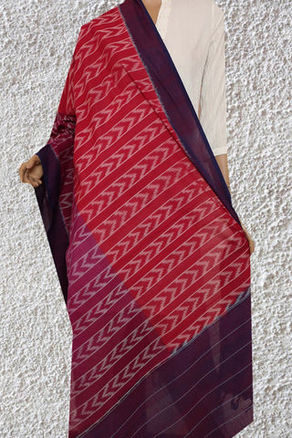 Red and Purple Handwoven Ikat Cotton Dupatta