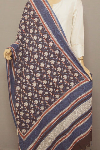 Off White with Indigo Floral Printed Khadi Cotton Dupatta