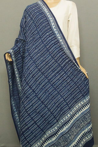 Indigo with Off White Irregular Lines Printed Mul Cotton Dupatta