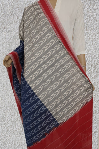 Grey and Blue Handwoven Ikat Cotton Dupatta