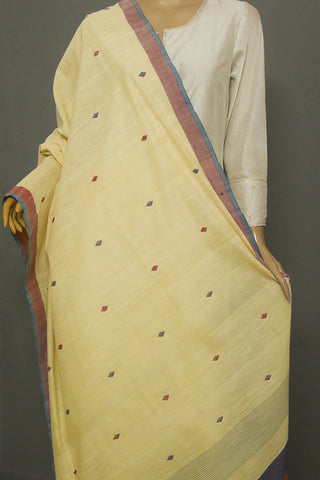 Light Begie Diamond Jamdani Handwoven Khadi Cotton Dupatta
