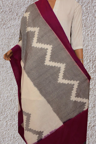Off Whiite with Grey Handwoven Ikat Cotton Dupatta